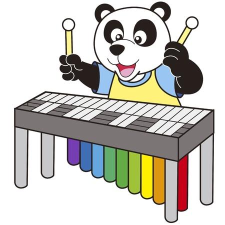 playing music: Cartoon Panda playing a vibraphone