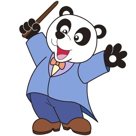 chef d orchestre: Music conductor de dessin anim� Panda Illustration