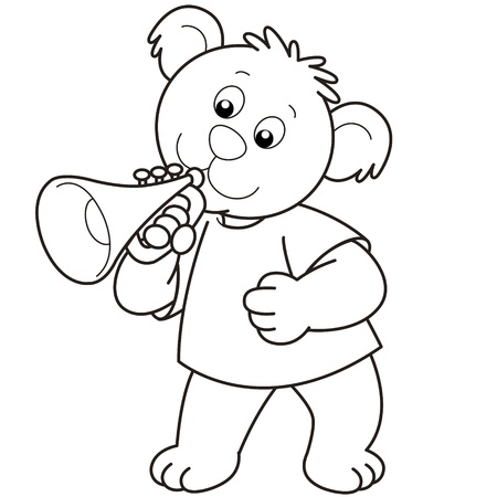 Cartoon Bear playing a trumpet.black and white Vector