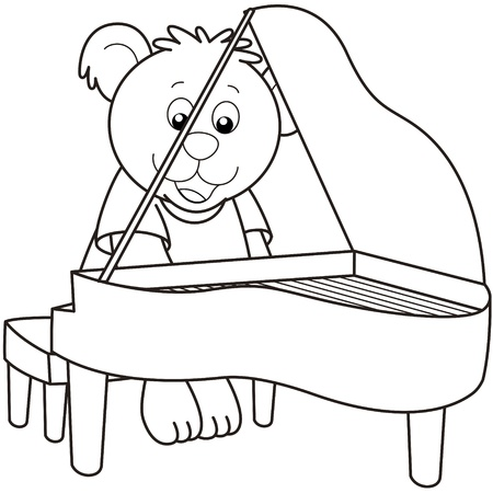 Cartoon Bear playing a piano.black and white Vector