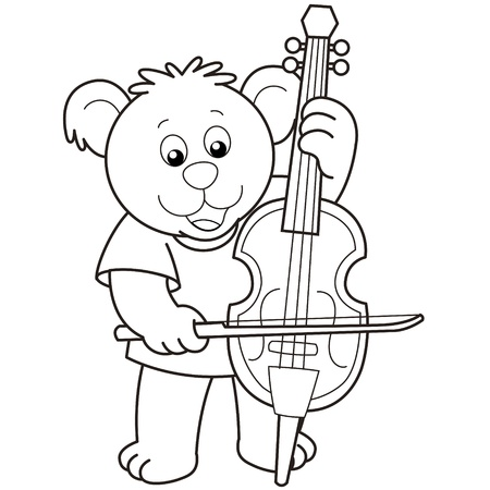 cellist: Cartoon Bear Playing a Cello.black and white Illustration