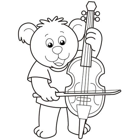 Cartoon Bear Playing a Cello.black and white Stock Vector - 18630050