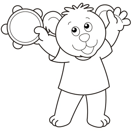 Cartoon Bear playing a tambourine.black and white Vector