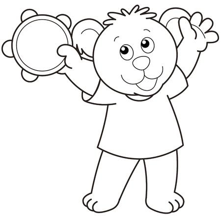 tambourine: Cartoon Bear playing a tambourine.black and white Illustration