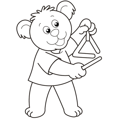 Cartoon Bear playing a triangle.black and white Vector