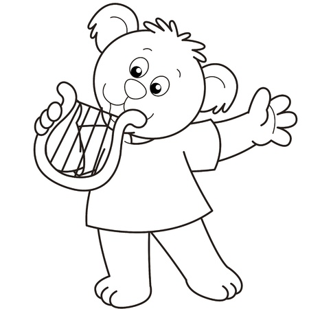 Cartoon Bear playing a harp.black and white Vector