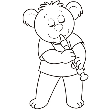 Cartoon Bear playing an oboe.black and white Vector
