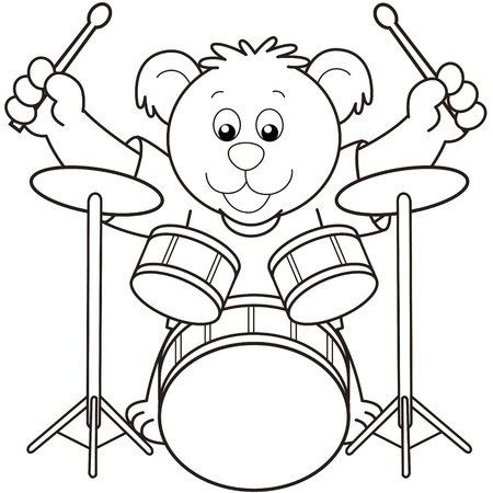 percussionist: Cartoon Bear Playing Drums.black and white