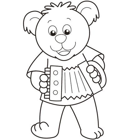 Cartoon Bear playing an accordion.black and white Vector