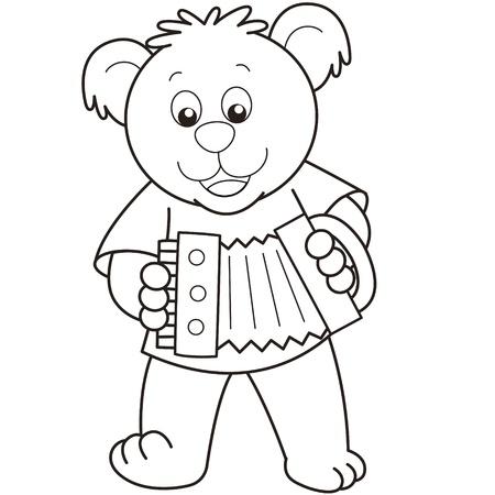 accordion: Cartoon Bear playing an accordion.black and white