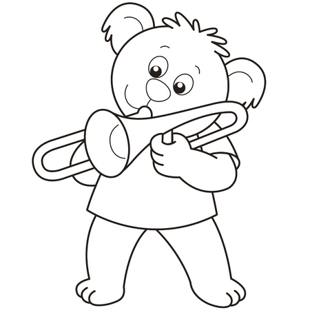 Cartoon Bear playing a trombone.black and white Vector