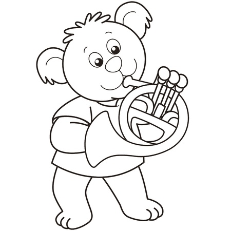 Cartoon Bear playing a French horn.black and white Vector