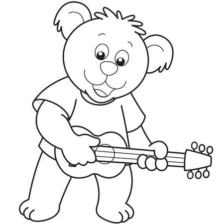 Cartoon Bear playing a guitar.black and white Vector