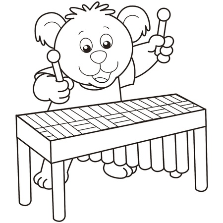 Cartoon Bear playing a vibraphone.black and white Vector