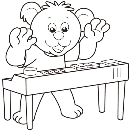 Cartoon Bear playing an electronic organ.black and white Vector