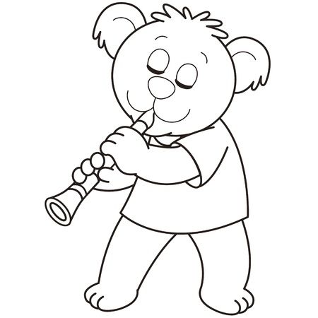 musical instrument symbol: Cartoon Bear playing a clarinet.black and white