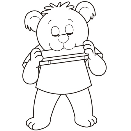 Cartoon Bear playing a harmonica black and white Vector