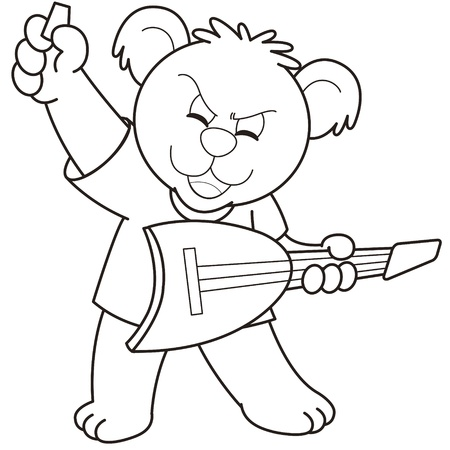 Cartoon Bear playing a guitar black and white Stock Vector - 18630037