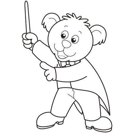 Cartoon Bear music conductor black and white Vector