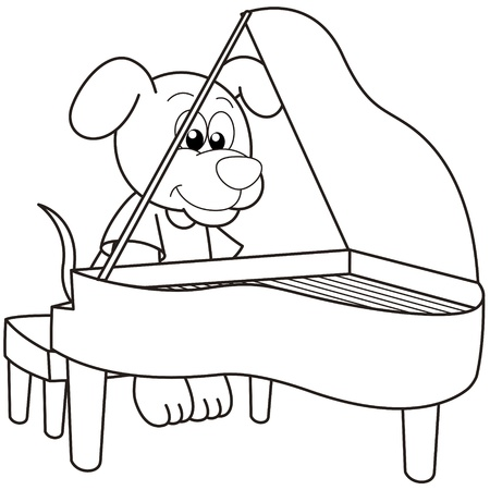 Cartoon Dog playing a piano black and white Vector