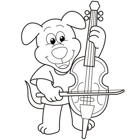 Cartoon Dog Playing a Cello black and white Vector