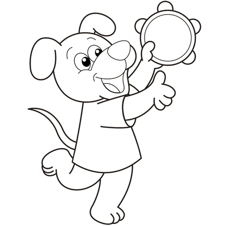 tambourine: Cartoon Dog playing a tambourine black and white