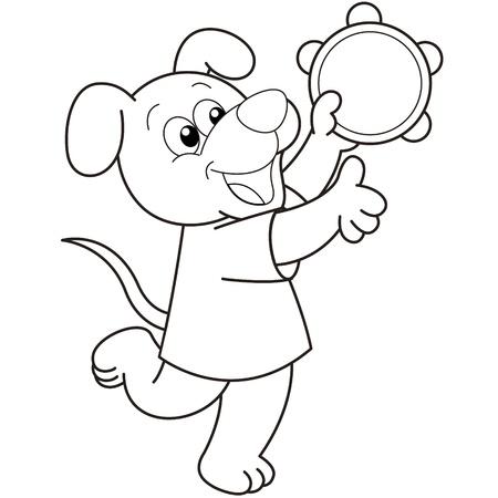 pandero: Perro de la historieta que juega una pandereta negro y blanco