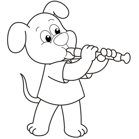 oboe: Cartoon Dog playing an oboe black and white Illustration