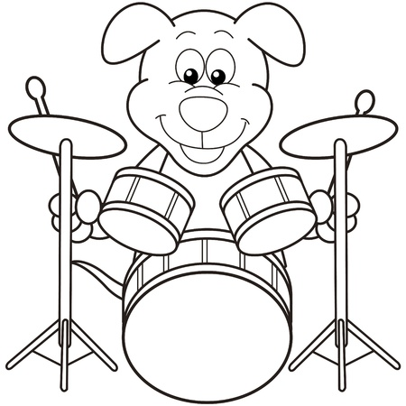 Cartoon Dog Playing Drums black and white Vector