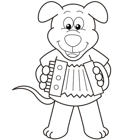 Cartoon Dog playing an accordion black and white Vector
