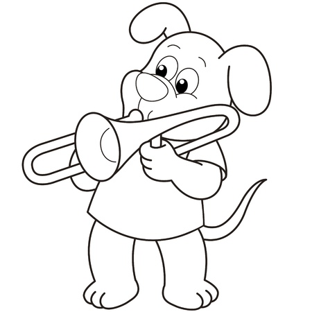 trombone: Cartoon Dog playing a trombone black and white