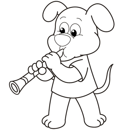 smirking: Cartoon Dog playing a clarinet black and white