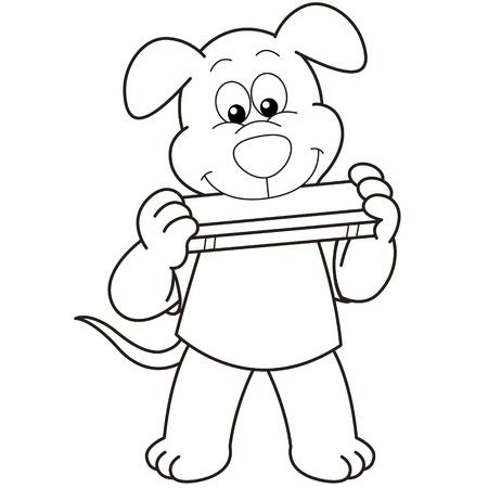 harmonica: Cartoon Dog playing a harmonica black and white