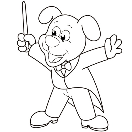 grinning: Cartoon Dog music conductor black and white