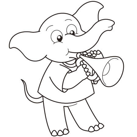 trumpet isolated: Cartoon Elephant playing a trumpet black and white Illustration