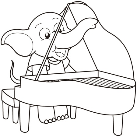 Cartoon Elephant playing a piano black and white Vector