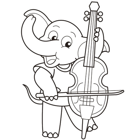 cellist: Cartoon Elephant Playing a Cello black and white Illustration