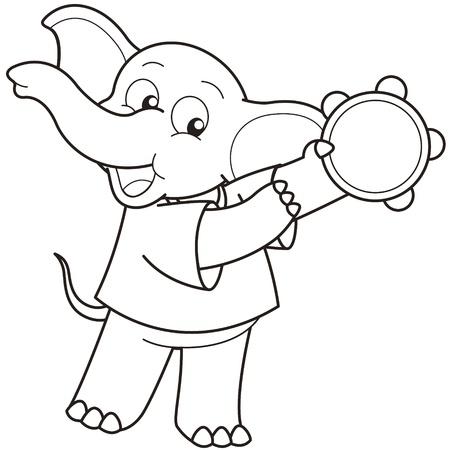 pandero: Cartoon Elephant jugar una pandereta negro y blanco Vectores