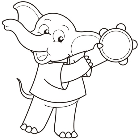 Cartoon Elephant playing a tambourine black and white Vector