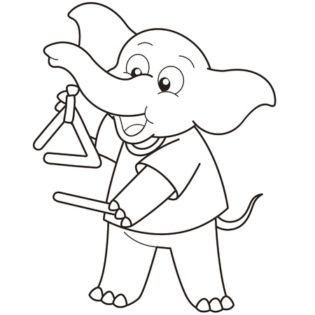 Cartoon Elephant playing a triangle black and white Vector