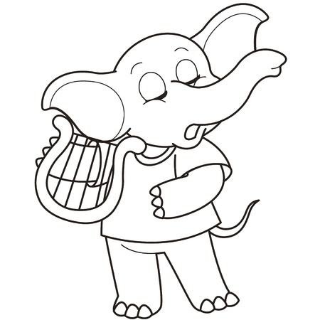 Cartoon Elephant playing a harp black and white Vector