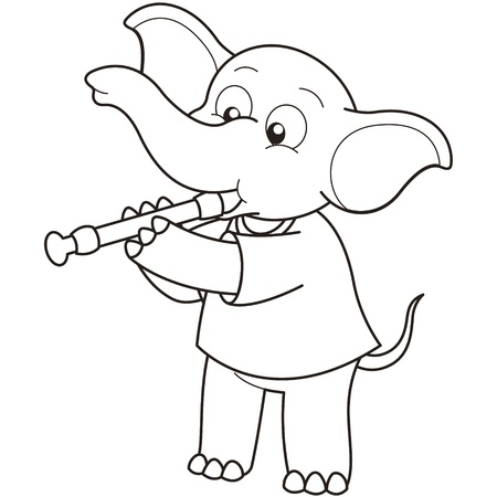 Cartoon Elephant playing an oboe black and white Vector