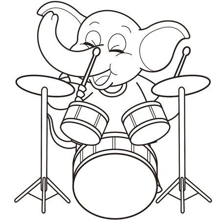 Cartoon Elephant Playing Drums black and white Vector