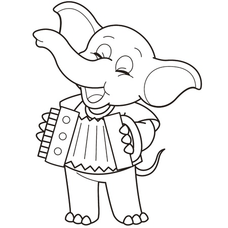 Cartoon Elephant playing an accordion black and white Vector