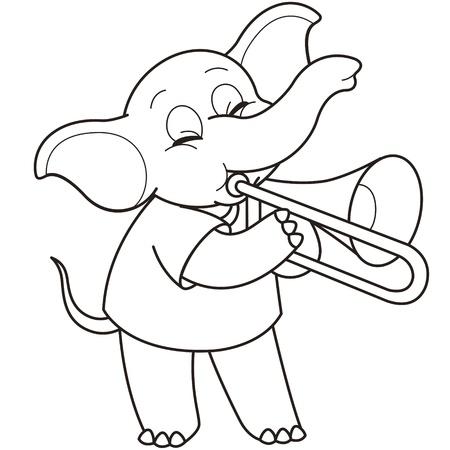 trombon: Cartoon Elefante que juega un trombone negro y blanco