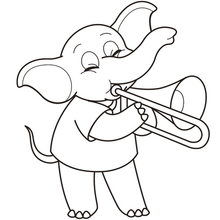 trombone: Cartoon Elephant playing a trombone black and white