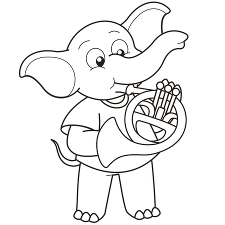 Cartoon Elephant playing a French horn black and white