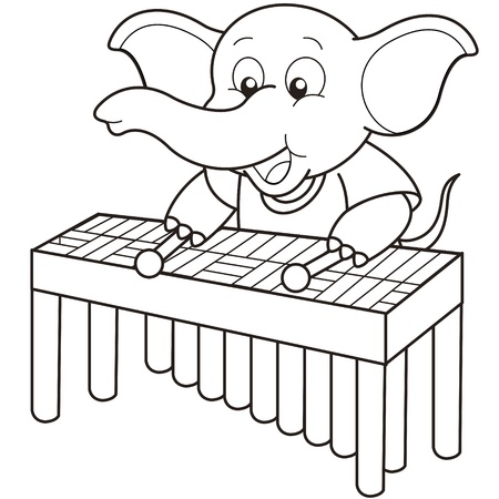 Cartoon Elephant playing a vibraphone black and white Vector