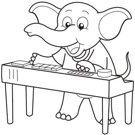 Cartoon Elephant playing an electronic organ black and white Vector