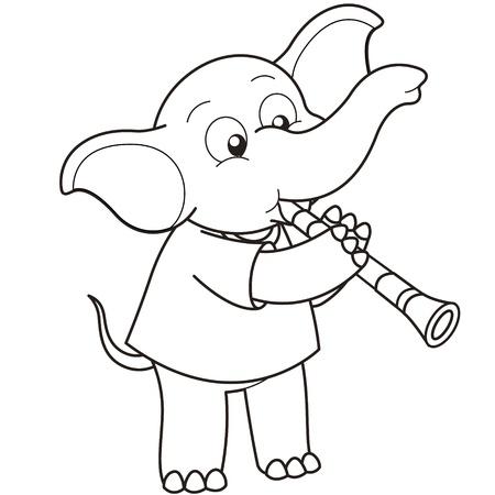 clarinet: Cartoon Elefante que juega un clarinete en blanco y negro